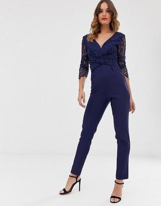 Little Mistress lace sleeve tailored jumpsuit