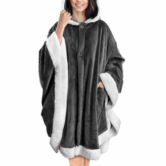 Rouyamiao Women Loose Hoodie Blanket Ultra Soft Sherpa Fleece Warm Cosy Comfy Oversized Wearable Giant Sweatshirt for Women Girls (Gray One Size)