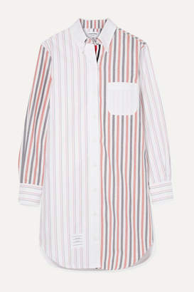 Thom Browne Striped Cotton-poplin Mini Dress - White