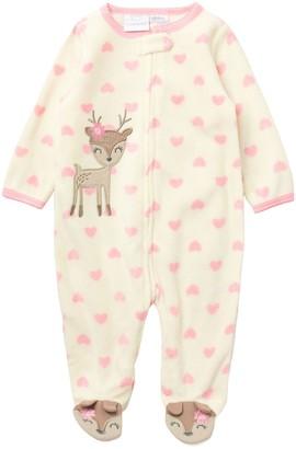 Koala Baby Reindeer Heart Micro Fleece Bodysuit (Baby Girls NB-9M)