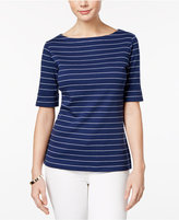 Karen Scott Elbow-Sleeve Striped Top, Created for Macy's