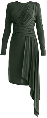 Paisie Jersey Dress With Ruched Detail & Side Skirt Drape In Dark Green
