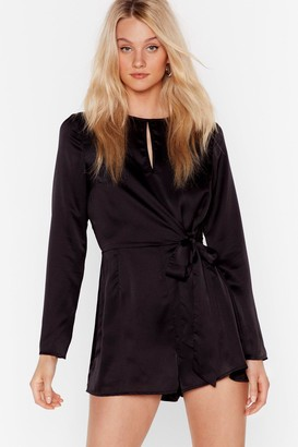 Nasty Gal Womens Satin Playsuit with Bow Tie Closure at Front - Black - 6