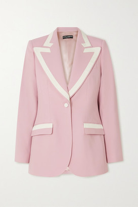 Dolce & Gabbana Piped Wool-blend Blazer - Pink