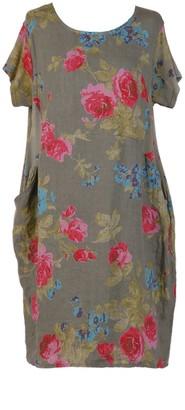 LushStyleUK New Ladies Italian Linen Floral Pocket Dress Women Lagenlook Dress Plus Sizes (Khaki)