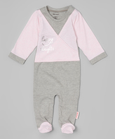 Silly Souls Pink & Silver 'Happy Thoughts' Footie - Infant