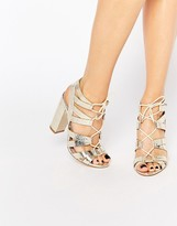 Lipsy Cleo Gold Metallic Ghillie Tie Up Sandals