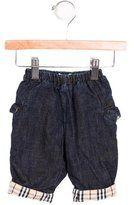 Burberry Girls' Denim Nova Check-Trimmed Pants