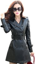 Tanming Women's Double Breasted Faux Leather Long Trench Coat Jacket With Belt