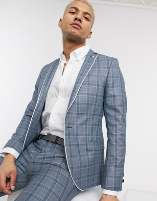 Twisted Tailor skinny suit jacket in blue check with contrast piping