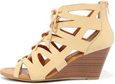 City Classified Chic Smarts Natural Nubuck Lace-Up Wedge Sandals