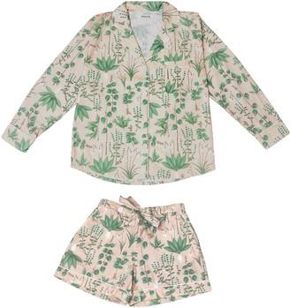 Phriya Women's Pink Circe's Garden Pajama Set With Shorts