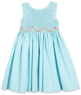 Luli & Me Sleeveless Gingham Seersucker Sundress, Turquoise, Size 2-6X