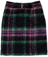 Milly MultiColor Mohair & Wool Plaid Skirt