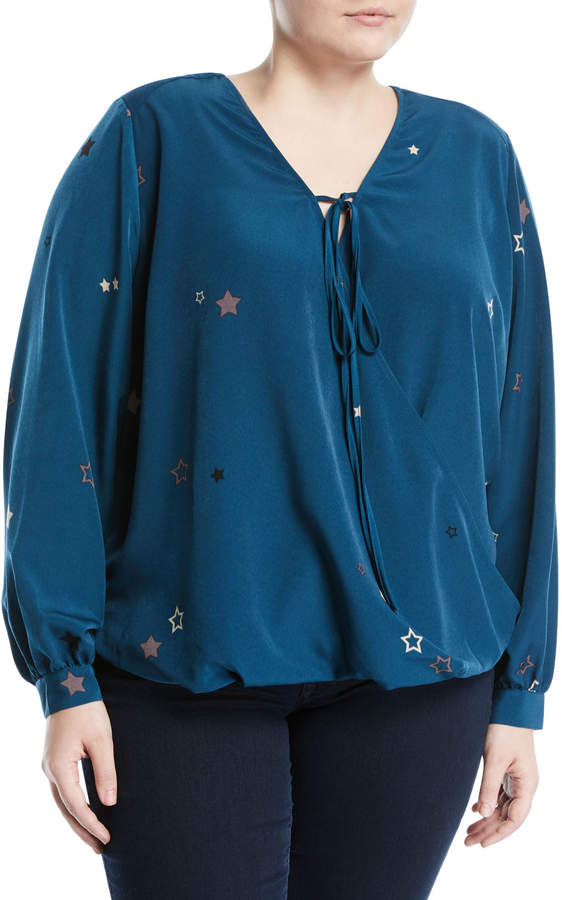 Melissa McCarthy Draped-Front Star-Print Blouse, Plus Size
