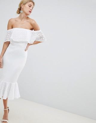 Asos Design DESIGN Scuba Broderie Trim Pephem Midi Dress-White