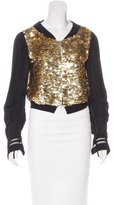 Dries Van Noten Sequined Zip-Front Jacket