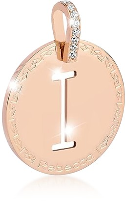 Rebecca Rose Gold-plated Bronze & Zirconia I Charm W/Rhodium-plated Necklace