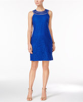 Jessica Howard Petite Open-Weave Lace Shift Dress