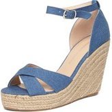 Dorothy Perkins Womens Denim 'Rylie' Platform Wedge Sandals- Blue