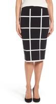 Vince Camuto Women's Windowpane Sweater Knit Skirt