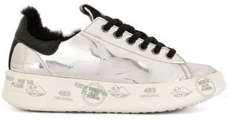 Premiata Shearling-Lined Metallic Trainers