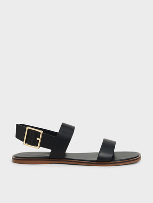 Charles & Keith Buckle Ankle Strap Flat Sandals