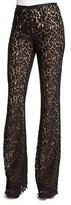 Michael Kors Floral-Lace Flare-Leg Pants, Black