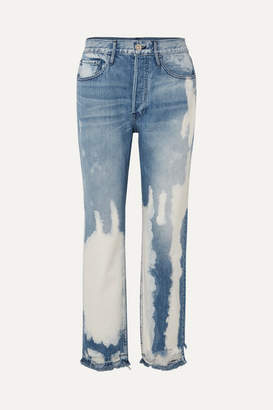 3x1 W3 Higher Ground Bleached Distressed High-rise Straight-leg Jeans - Mid denim