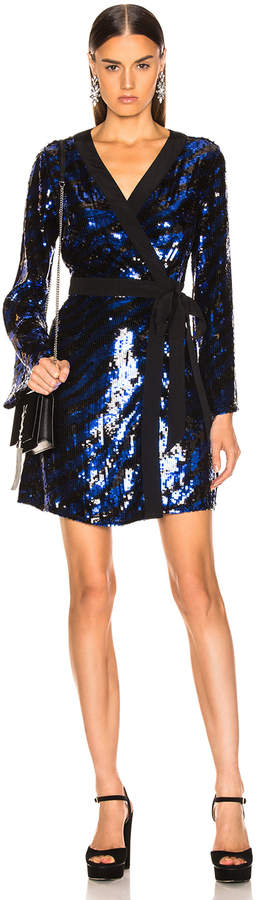 Rixo Maria Sequin Dress in Blue Tiger | FWRD