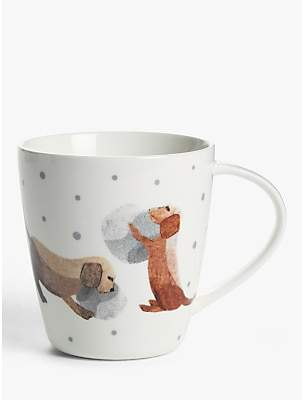 John Lewis & Partners Dog Mug, 400ml, White/Multi
