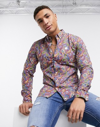 Pretty Green all over paisley print shirt in multi
