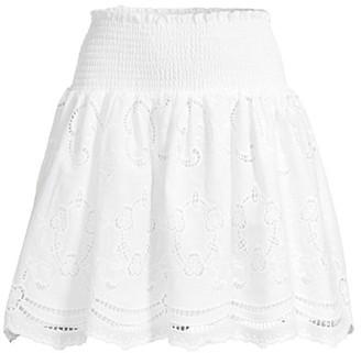 Shoshanna Chateau Eyelet Smocked Mini Skirt