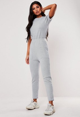 Missguided Petite Light Gray Jersey Rib Pocket Front Romper