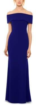 Betsy & Adam Off-The-Shoulder Bow-Back Gown