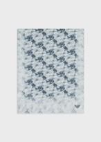 Emporio Armani Mixed Linen Stole With Watercolour Flower Print
