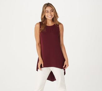Susan Graver Regular Woven Essentials Sleeveless Hi- Low Hem Tunic