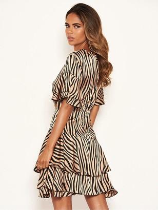 AX Paris Zebra Print Frill Dress - Stone