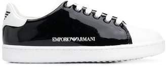 Emporio Armani monochrome patent sneakers