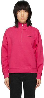 Carhartt Work In Progress Pink Script Highneck Sweatshirt