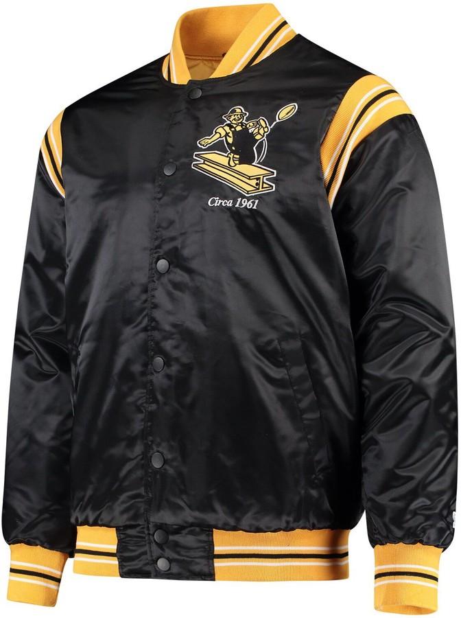 buy online 37a73 727a5 Men's Starter Black Pittsburgh Steelers Enforcer Throwback Jacket