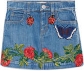 Gucci Children's embroidered denim skirt