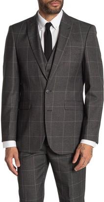 Moss Bros Medium Grey Plaid Two Button Peak Lapel Regular Fit Suit Separates Jacket