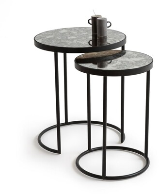 La Redoute Interieurs LIPSTICK Glass & Metal Nested End Tables (Set of 2)