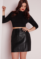 Missguided Plus Size Faux Leather Mini Skirt Black