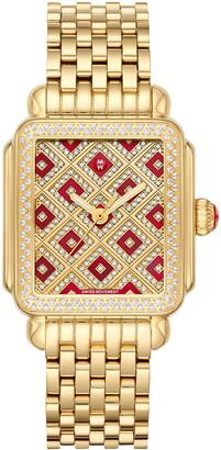 Michele Deco 18 Chateau Gold Mosaic Diamond Watch