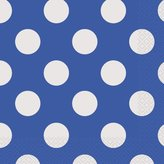 "Polka Dot Party Napkins, 6.5"" x 6.5"", Royal Blue, 16 Count"