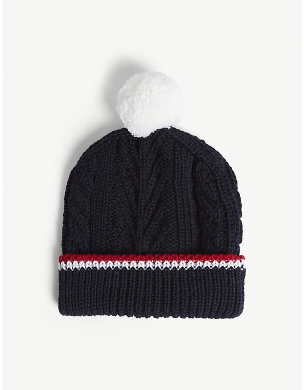7d3583493 Pom pom cable-knit merino wool beanie