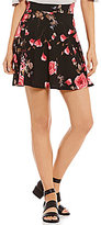 Soprano Floral Fit-And-Flare Knit Skirt