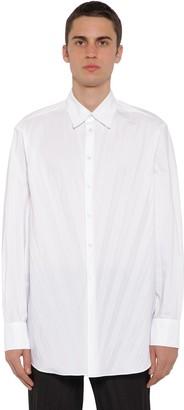 Valentino Oversized Pleat Tech Cotton Poplin Shirt